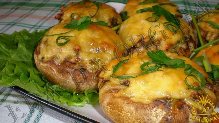 Грибы фаршированные с грибами в духовке рецепт