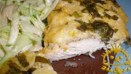 Филе куриное под сырно-яблочной шапкой