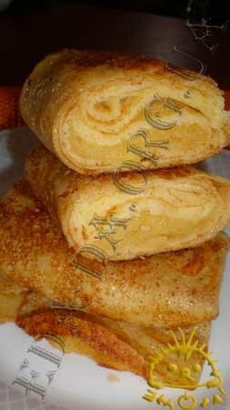 Кулинарные рецепты блюд с фото - Блины с яблочной начинкой. Нажать для увеличения.