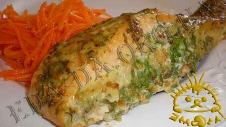 Кулинарные рецепты блюд с фото - Семга в маринаде, запеченная в духовке. Нажать для увеличения.