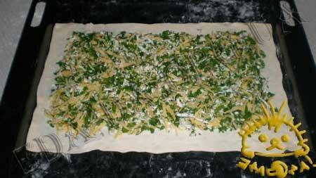 Кулинарные рецепты с фото - Пирог из слоеного теста с сыром и зеленью, Фото 3