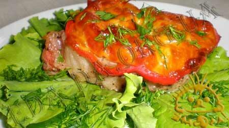 Кулинарные рецепты блюд с фото - Свинина с овощами и сыром, запеченная в рукаве для запекания. Нажать для увеличения.