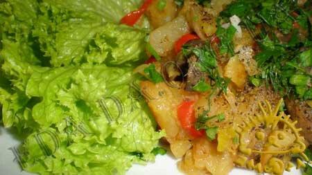 Кулинарные рецепты с фото - Овощное рагу с маринованными шампиньонами. Нажать для увеличения.
