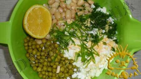 Кулинарный мастер класс - Салат из цветной капусты, зеленого горошка и фасоли, шаг 7
