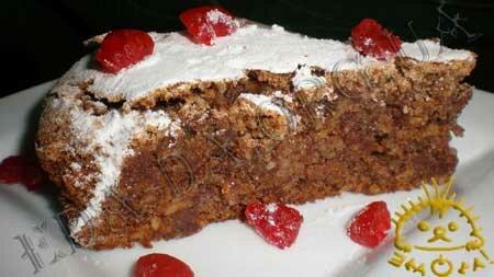 Кулинарные рецепты с фото - Ореховый пирог с шоколадом. Нажать для увеличения.