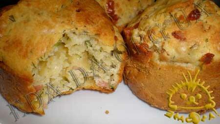 Кулинарные рецепты с фото - Кексы с копченой курицей, сыром и зеленью, Фото 10
