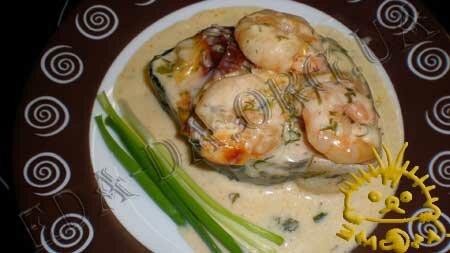 Кулинарные рецепты блюд с фото - Семга, запеченная под белым соусом с креветками, Фото 4